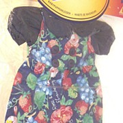 "DOLL Clothes...Navy Ground With Grapes..Strawberry's..Rose Print...Navy Blouse..Hunter Toys England...Fashions By Danny Petite..Fits 14-16"" & 25-40cms...New Condition"