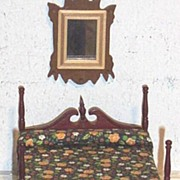 Vintage..NIB..4-Poster Cherry Mahogany Bed With Canopy..Floral Cotton Bedspread