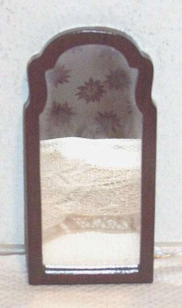 Vintage. 1970's..MIB..Hand-Made Mahogany Oblong Doll House Mirror..Chain Hanger