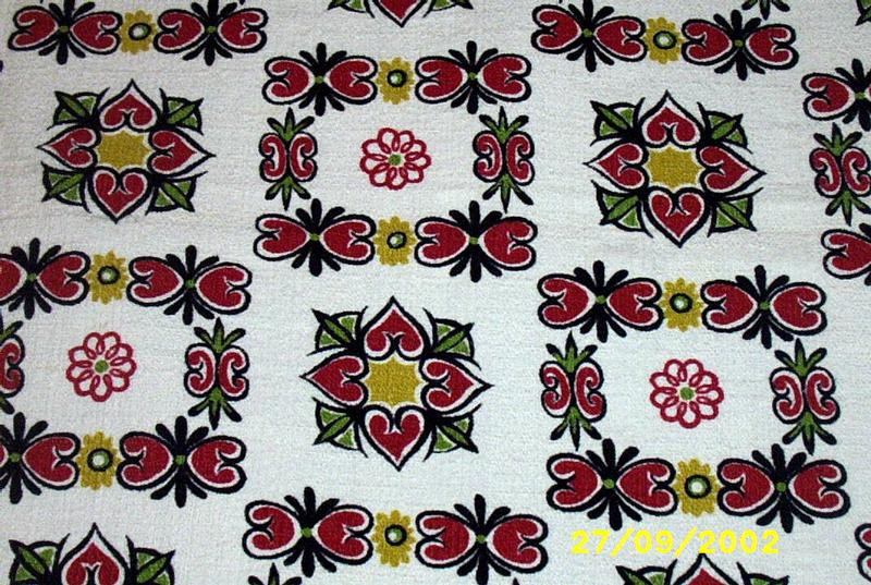 Textured Woven Cotton Drape With Heart And Flower Squares
