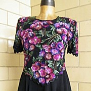 Floral Mauve  Beaded Bodice & Sheer Rayon Circle Skirt..Lined..By Laurence Kazar..Excellent Condition
