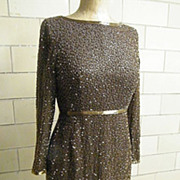 GIORGIO Of Beverly Hills..1950's Evening Gown..Hand Beaded With Glass Beagle Beads..