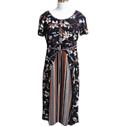 Summer Dark Maxi Dress By Betsy Lauren..Light Weight Woven Polyester 1930's Floral ..Black Ground..Size 6