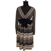 Adrianna Papell Fit & Flair..Rachel Knit Empire Waist Dress..Black & White With Silver Metallic..Size 12..Excellent Condition