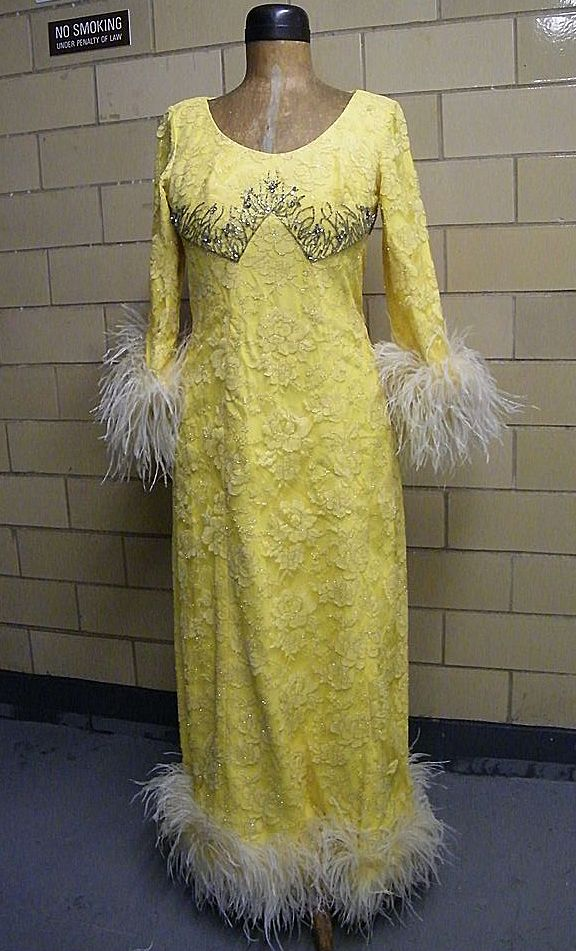 Vintage Designer AUNTIE MAME Yellow Lace & Marabou Gown..Dramatic!!