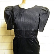 1960's ..Black Silk Satin & Faille DRESS..Designer Quality..Excellent Condition!..Taffeta Lined