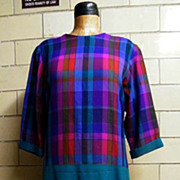 Designer David Chablis Woven Novelty..Wool Plaid Chemise Dress..Size 16