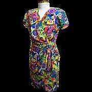 Silk Dress...Emilio Pucci Like Print..Pat Argenti..1980's..Size 4..Excellent Condition!