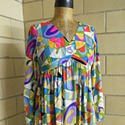 """1960's Emilio Pucci style Abstract Print Dress ..""""V"""" Neck..Empire Waist..Long Fitted Sleeves..Jersey"""