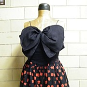 BILL BLASS III..Summer Evening Dress..Spaghetti ..Large Linen Black Bow Bodice & Black With Red Spots  Voile Skirt