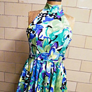 Halter Dress..Water Color Abstract Floral Print..Cotton..AJ BARI..1970's-80's..Korea..Size 8