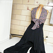 HALTER DRESS & PALAZZO PANTS..Rayon & Acetate..Small Floral Print Bodice & Black Flowing Pants..Size 9/10