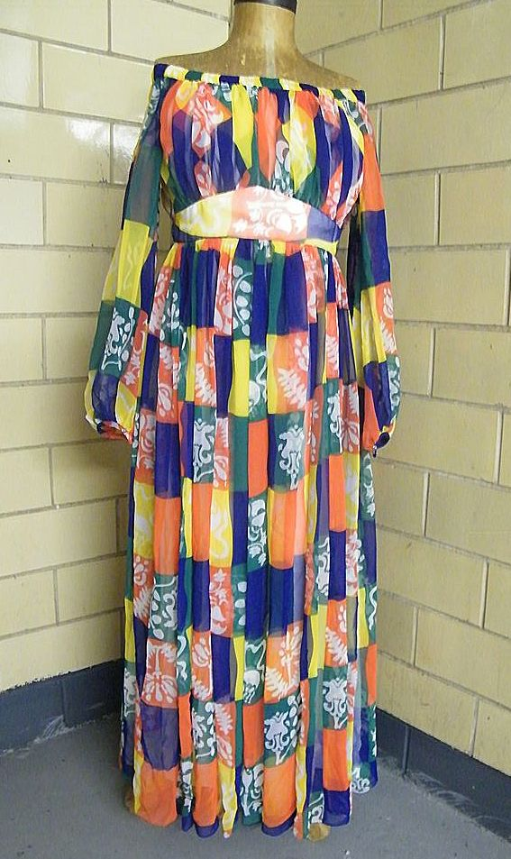 1960's Elegant Summer / Cruise Long Chiffon Block Printed Dress ..Off The Shoulder..Empire Waist..Flowing Sleeves..Excellent Condition