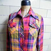 Long Cotton Madras Plaid Dress..Button Front..Long Sleeves..Pucker Stripe..Red/Violet/Yellow..Lady Bayard..USA..Size 14