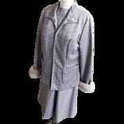 Women's Size Dress / Suit With American Lamb Trim Cuffs..Grey / White Geometric Double Knit..L
