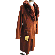 Two Piece Dress / Suit Rust Polyester Doubleknit With Dyed Lamb Cascading Collar..Shift Dress.