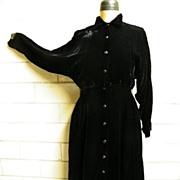 NORMA KAMALI..Black Velvet Shirtwaist Dress..Size 6