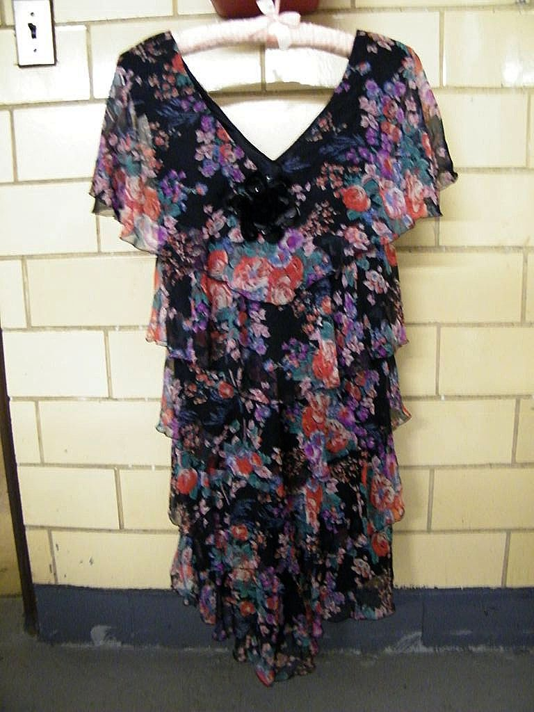 """Black Voile Bright Floral Printed Dress With Multi Tiers..""""V"""" Neck..Cape Sleeves..By Maya Jornot For Cattiva..Size 6..Excellent Condition!"""