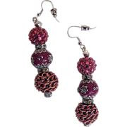 "Shades of Rose Novelty Beads...Dangle Earrings...2.25"" Drop"