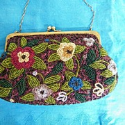 Hand Beaded Floral Evening Bag / Purse Japan..White..Turquoise..Gold Flowers & Green Leaves On Wine Ground..Beautiful Hand-Work