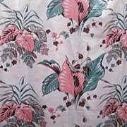 Vintage...Tropical Leave Screen Print On Acetate With Shiny Slubs..7 Yards