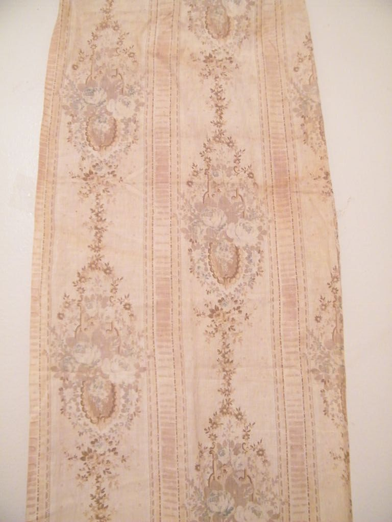 Antique  Printed Linen Panel..Victorian Stripe With Floral Medallions..Beige-On-Beige