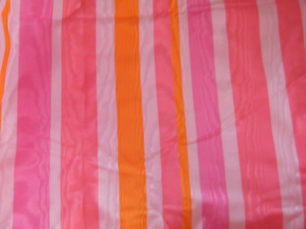 Vintage MOIRE STRIPED Decorative Fabric..Pink / Coral / Apricot...New Condition