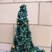 "Mid-Century Green Foil Christmas Tree ..8"".Decorated With Gold Glass Balls..Japan"
