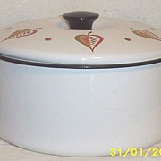 Vintage..Georges Briard Covered Stockpot..Enamelware..Rooster Design..Part Of 3 Piece Set