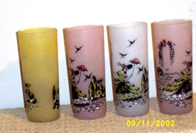 Colonial Garden Design Frosted  Ice Tea Glasses Set [4]