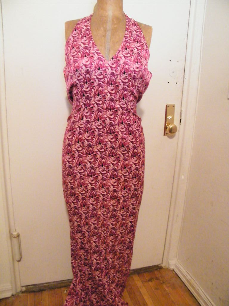 DESIGNER..Shawn Ray Fons..Halter Long Evening Gown..Silk Swirl Print..Red / Violet..New Condition..Silk Lined