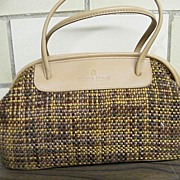 Etienne Aigner..Satchel.. Handbag / Purse...Hand Woven TWEED Look Fabric With Tan Trim..New Condition
