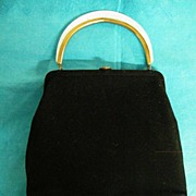 LUCITE MOP HANDLE Frames This INGBER Black Wool Handbag / Purse With Change Purse