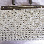 Off White Raffia Kelly Handbag With Wood Bar & handle With gold-Tone Chain Trim..Made In Italy..Excellent Condition!