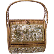 Straw World..Wicker Hamper Handbag With Sea Shells..Burlap Lined...Hialeah, Florida..Excellent Condition