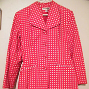Late 1960's HOT PANTS SUIT..Red / White Checked Printed Cotton Pique..Gruppo Americano Studio..Size 6 Fitted jacket..8 Hot Pants..Excellent Condition!