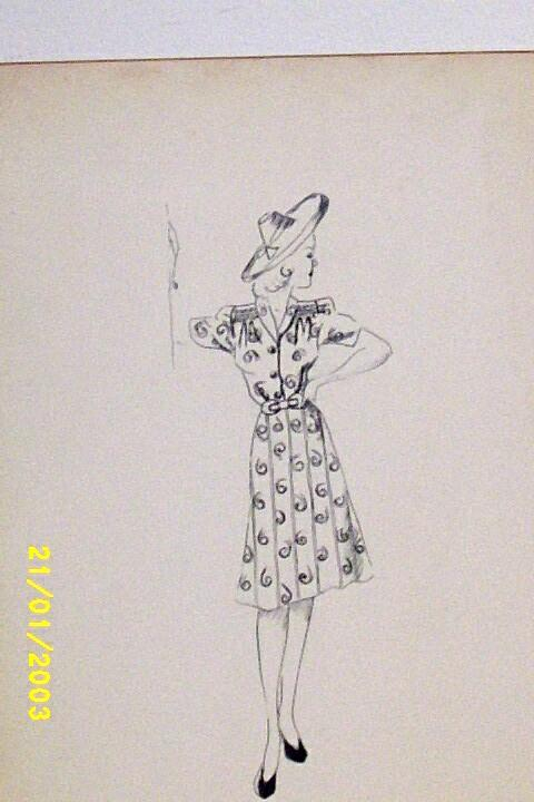 Original...Pen And Ink...Fashion Illustration...1930's-40's