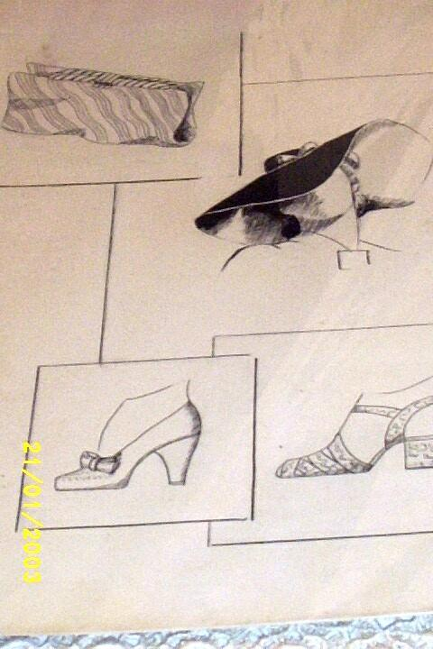 Original...Pen And Ink....Fashion Illustration...Accessories...1930's/40's