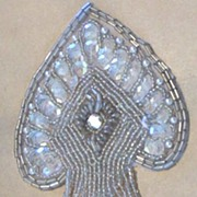 Vintage..Iridescent Spade Shaped Emblem / Applique Of Sequins & Bugle Beads...