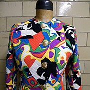 ABSTRACT Screen Printed Woven Pique Jacket By GIVENCHY Couture Paris..Made In France..Excellent Condition