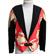 1980's Antique Silk Kimono Collage Tuxedo Jacket By Yvonne O'Gara Collections...Excellent Cond