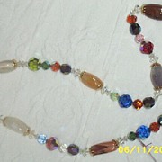 "Assorted Austrian Beaded  23 1/2"" Necklace With Semi -Precious Stones"