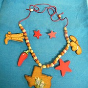 TEXAS Wood Puzzle Necklace..Wood-Cuts Of State..Cowboy Boots..Star..Hat..Red Pepper..On Soutash & Wood Beads..Plus Star Earrings