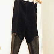 Vintage...Girl's Riding Jodphers..Navy Brushed Cotton..Leather Trim..Size 6