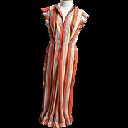 Jumpsuit With Palazzo Pants..Striped..Silky Interlock Knit..Open Back..Front Zipper & Belt. Si