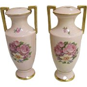 Pair Of Mini Porcelain Rose Medallion  Lamps From Germany Made Before World War11