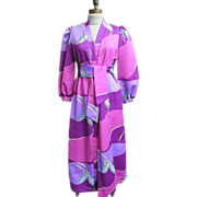 Op Art Printed Loungewear Robe By David Brown Of California..1960's-1970's..Small