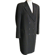 Men's Dress Formal Chesterfield Style Coat..Black Polyester Crepe Satin Stripe..Size 38 L..Excellent Condition