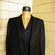 1971 Bespoke Black Wool Jacket & Vest Set..Otto Perl Custom Taylored..NYC..New Condition