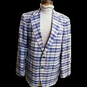 Men's Blue Madras Plaid Sports Jacket / Coat..Brooks Brothers...1970..Size 42L..Excellent Condition!
